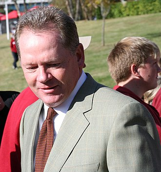 "Bobby Petrino - Petrino during the pre-game ""Hog Walk"" to the stadium in 2008"