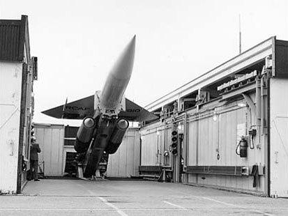 Bomarc on launch erector