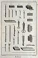 Bookbinding; knives, scissors, clamps, etc. Engraving by Ben Wellcome V0023790ER.jpg