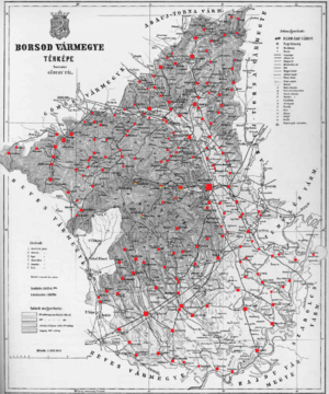 Borsod County - Ethnic map of the county with data of the 1910 census (see the key in the description).