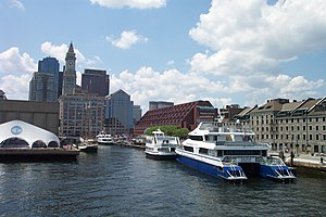 Long Wharf in waterfront downtown Boston was once the main commercial wharf of the port, but is now used by ferries and cruise boats.