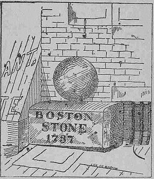 Boston Stone - 19th century line drawing of the Boston Stone