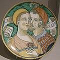 Bottega di jacopo mancini, deruta, piatto con coppia e iscrizione, 1550 ca..JPG