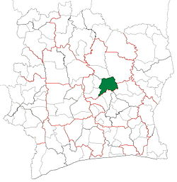 Location in Ivory Coast. Bouaké Department has had these boundaries since 2008.