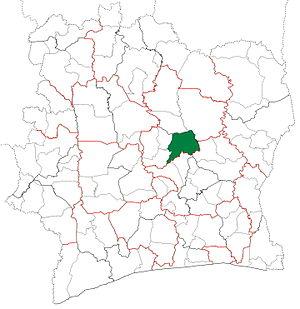 Bouaké Department - Image: Bouaké Department locator map Côte d'Ivoire