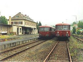 Train crossing in Bad Brückenau (1988)