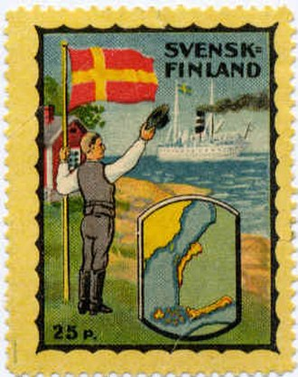 Swedish-speaking population of Finland - Envelope stamp (not postage) issued by the Swedish People's party in 1922.