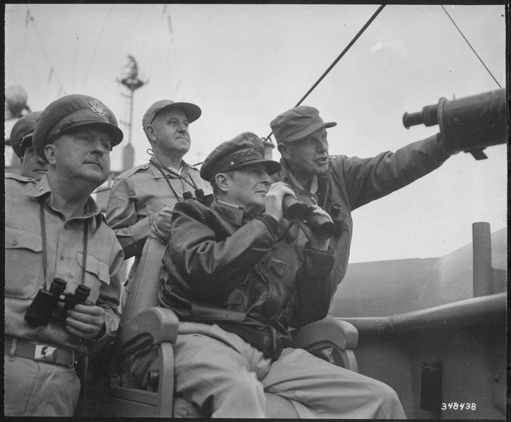 File:Brigadier General Courtney Whitney, General Douglas MacArthur, Commander in Chief of U.N. Forces, and Major General... - NARA - 531373.tif