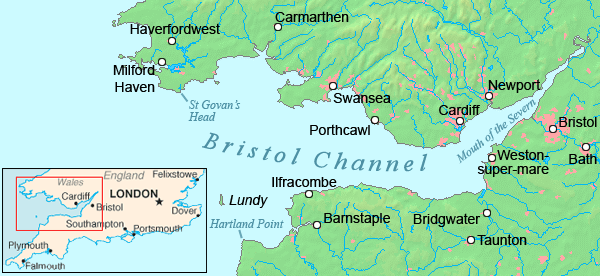 Bristol channel detailed map