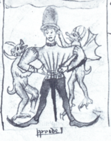 Drawing of devils accosting a medieval nobleman.