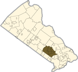 Location of Northampton Township in Bucks County
