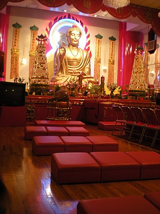 Chinese Americans in New York City - Mahayana Buddhist Temple (大乘佛教寺廟) on Canal Street in Chinatown, Manhattan