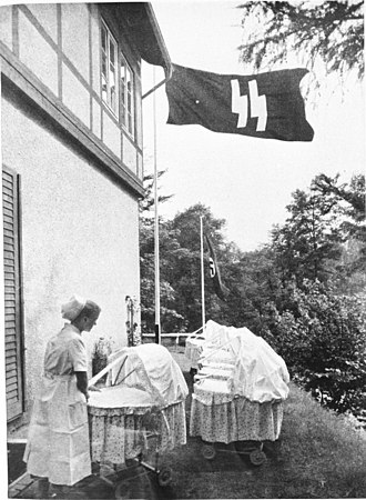 "Eugenics - A Lebensborn birth house in Nazi Germany. Created with the intention of raising the birth rate of ""Aryan"" children from the extramarital relations of ""racially pure and healthy"" parents."