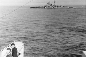 German battleship Bismarck - Bismarck, photographed from Prinz Eugen, in the Baltic at the outset of Operation Rheinübung