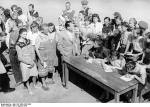 Forced labor of Germans in the Soviet Union - August 1947, German women and girls released from Soviet captivity wait in 14 days of quarantine at the Polte Nord returnee camp, before finally going home.