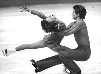 Pair skating - East German pair skaters Sabine Baeß and Tassilo Thierbach performing a pair spin, 1979