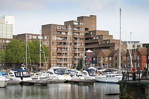 South Quay Estate - South Quay Estate - Looking east across the St Katharine Docks Marina