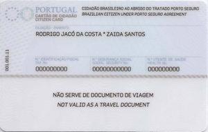 Citizen Card (Portugal) - Reverse of a Cartão de Cidadão issued to a Brazilian citizen under the Porto Seguro Agreement