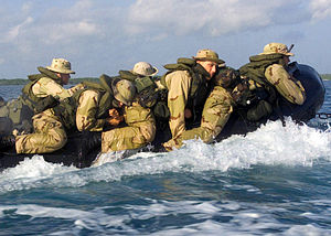 Combat Rubber Raiding Craft - U.S. Marines from the Battalion Landing Team 2/2 go ashore in a CRRC during a 2003 exercise.