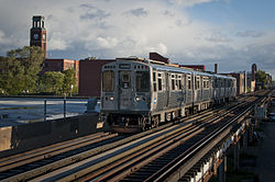 A Chicago 'L' train passes through Ravenswood.