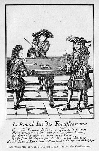 Cue sports - The sons of Louis, Grand Dauphin playing the royal game of fortifications, early form of obstacle billiard.
