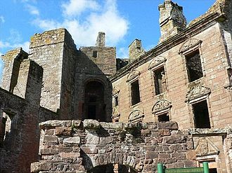 Caerlaverock Castle - View showing the latter addition to the castle at the north end of the Inner Court