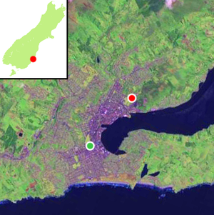 Caledonian Ground - Current and former locations of the Caledonian Ground within Dunedin's urban area are shown by the red and green dots respectively.