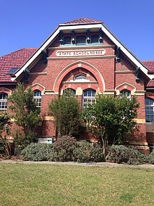 Entrance to red brick administration building, Camberwell Primary School, Victoria