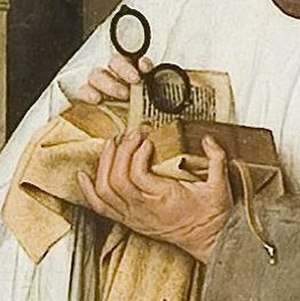 Virgin and Child with Canon van der Paele - Detail of Van der Paele's prayer book and spectacles