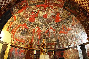 Sos del Rey Católico - Crypt of Santa María del Perdón, whose construction began in the mid-11th century. Detail of Gothic mural paintings that preserve.