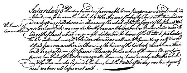 Captain Cook's journal, 3 June 1769.jpg