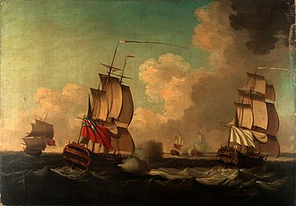 En flûte - Capture of the Alcide and the Lys, in the Action of 8 June 1755; the 64-gun Lys was armed en flûte, her armament reduced to 22 guns.