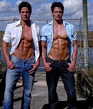 Beefcake - The Carlson Twins modeled for many photographers and magazines, sometimes in erotic or nude poses.