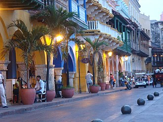 Typical balconies in the houses of the historic downtown Cartagena, Colombia 3.jpg