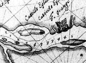 Fort Orange (New Netherland) - Map of Castle Island and Fort Orange in 1629