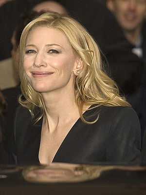 Actress Cate Blanchett leaving the press confe...