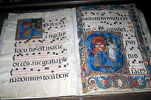 Liturgical music - Two pages of a psalter in Baeza Cathedral
