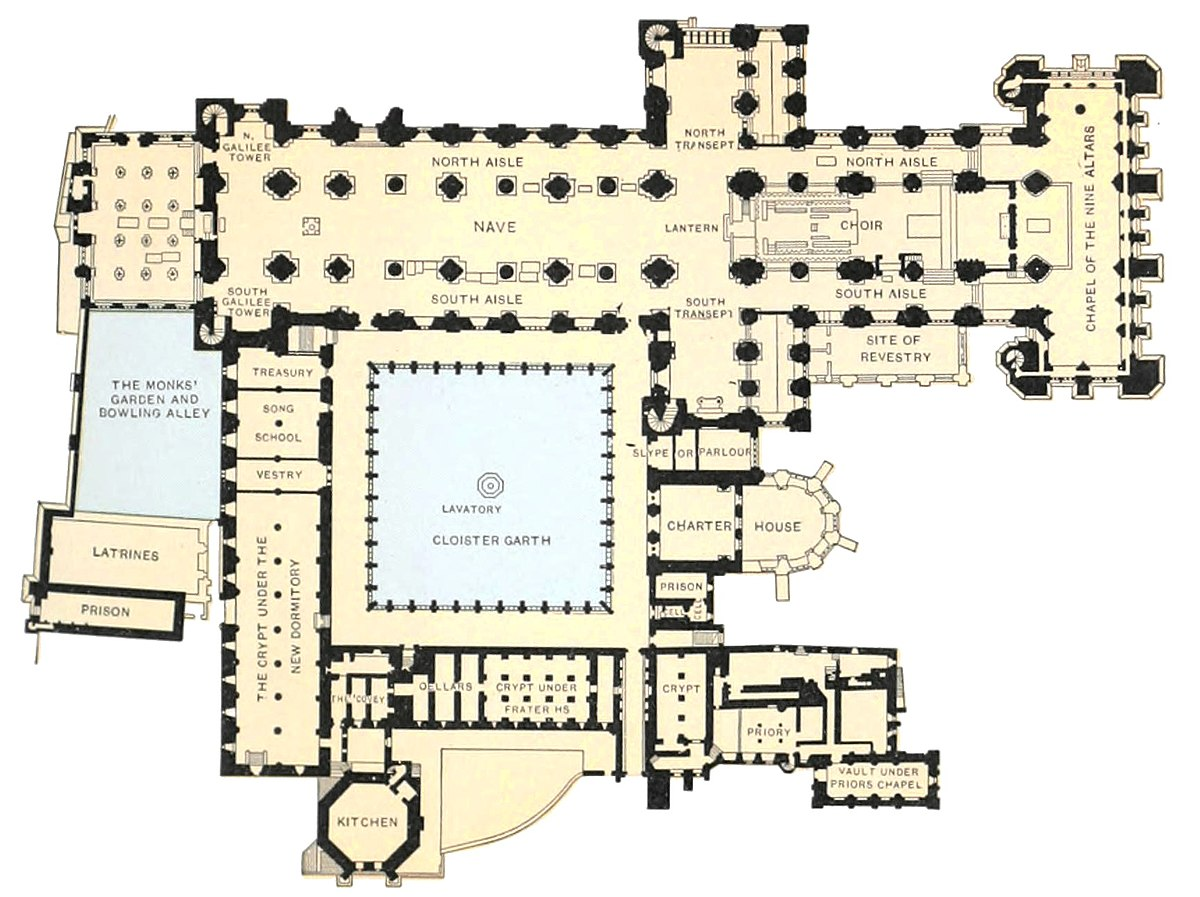 Archivo Catholic Encyclopedia Ground Plan Of Durham Cathedral And Abbey Jpg Wikipedia La Enciclopedia Libre