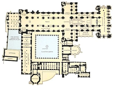 Catholic Encyclopedia - Ground Plan of Durham Cathedral and Abbey.jpg