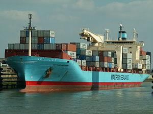 Cecilie Maersk in lock Port of Antwerp 13-Sep-2005.jpg
