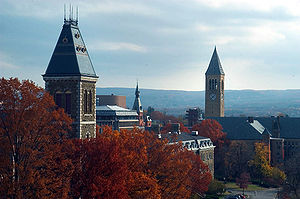 Cornell Chimes - John McGraw Hall, foreground with McGraw Tower in the background.