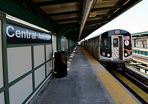 Central Avenue (BMT Myrtle Avenue Line) - Middle Village-bound M train of R160s arriving at the renovated Central Avenue station