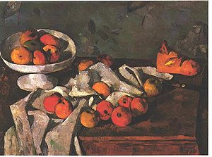 Still life with a fruit-dish and apples