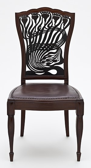 Arthur Heygate Mackmurdo - Chair designed by Mackmurdo, the back panel of which has been seen as a precursor of Art Nouveau design.