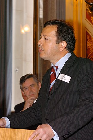 British Cypriots - Peter Droussiotis, Chair of the National Federation of Cypriots in the UK speaking at a reception held at the Foreign and Commonwealth Office
