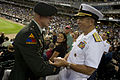 Chairman of the Joint Chiefs of Staff Adm. Mike Mullen, U.S. Navy, greets U.S. Army Capt. Scott Leifker during the Chicago White Sox versus the Baltimore Orioles game at U.S. Cellular Field on Aug. 25, 2010 100825-N-TT977-539.jpg