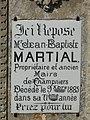 Champniers-et-Reilhac cimetière plaque maire JB Martial.JPG