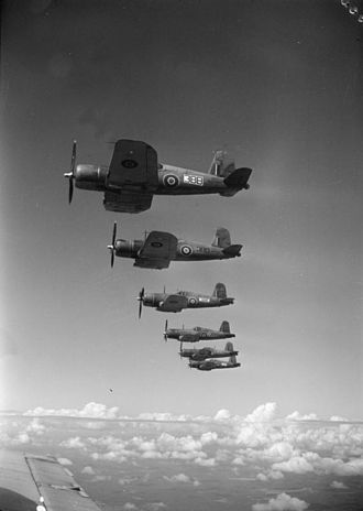 Vought - A formation of British Corsairs in 1944.