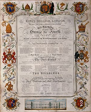 Royal charter - Coloured engraving by H. D. Smith, commemorating the grant of a charter to King's College London in 1829