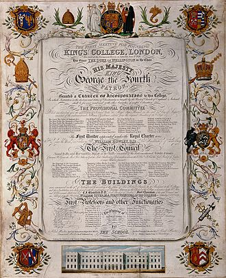 Royal charter - Coloured engraving by H. D. Smith, commemorating the grant of a charter to King's College, London in 1829